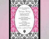 Hot Pink and Black Baby Shower Invites with Modern Damask Pattern, You Choose Color Accents, Baby Boy Blue, Baby Girl Pink, Gender Neutral