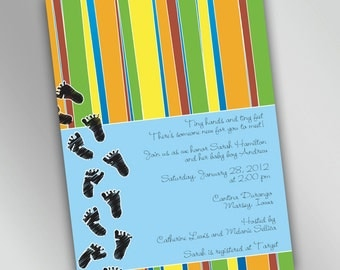 Baby Feet Colorful Baby Shower Invitations, Baby Footprints with Multicolor Stripes, Cute and Fun Printable Design You Choose Color Accent