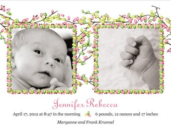Newborn Baby Birth Announcement Cards with Baby's Photo and Spring Blossoms, Printable File for DIY Ease, Spring Baby, Summer Baby
