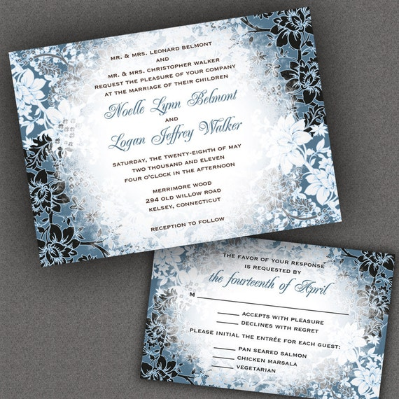 Winter Wedding Invitation Suite With Evening Frost Border  Winter  Wonderland Wedding, Holiday Wedding, Christmas Wedding, Also Party Invites