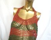 Green & Terracotta Orange Halter Back Crochet Top Ltd Ed