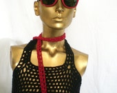 Red Skinny fashion crochet scarf