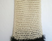 Cream with fluffy fuzzy black trimmings crochet Scarf