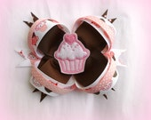 Big Loopy Boutique Cupcake Hairbow - Hair Clip with Cupcake Felt Embellishment  - Hair Bow - Hand Sewn-Perfect for Birthday Girl