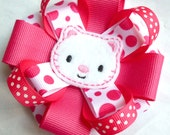 Boutique Big Hairbow - Hair Clip with Kitty Cat Felt Embellishment  - Hair Bow - Hand Sewn-