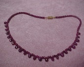 "Vintage Natural Ruby Beads Necklace 16.5"" with Magnet closure"
