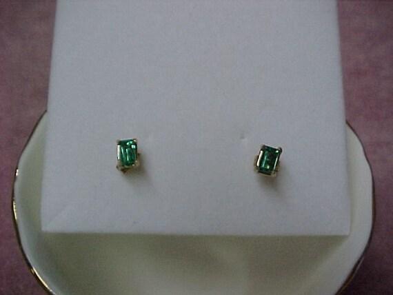 Vintage Colombian Emerald Earrings Emerald Cut .58 Carat, 5MM x 4MM, 14K Yellow Gold