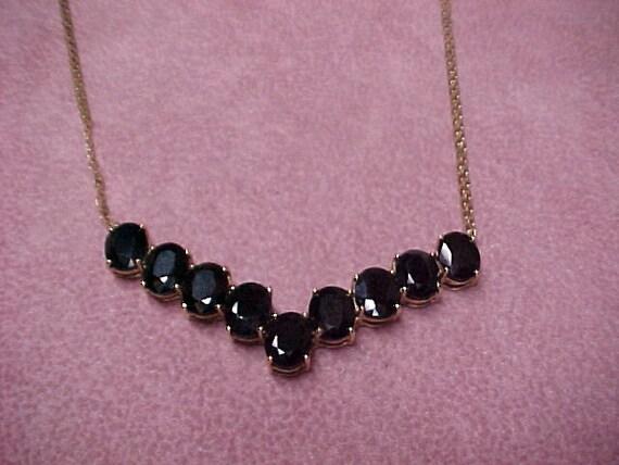 "Vintage Sapphire 9 Solitaires Necklace 9 Carat, 10K Yellow Gold 10.2 Gram, 16"" Chain"