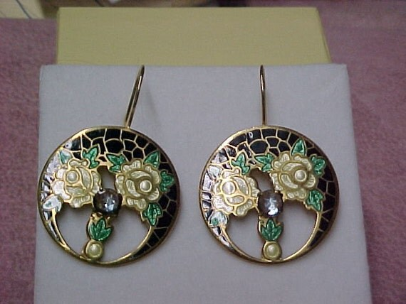 Antique Art Nouveau Enamel & Saphiret Earrings with14K Yellow Gold