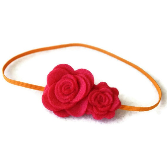 Baby Girls Pink Flower Headband - Pink and Orange Felt Flower Headband - Baby Newborn Girls Headband