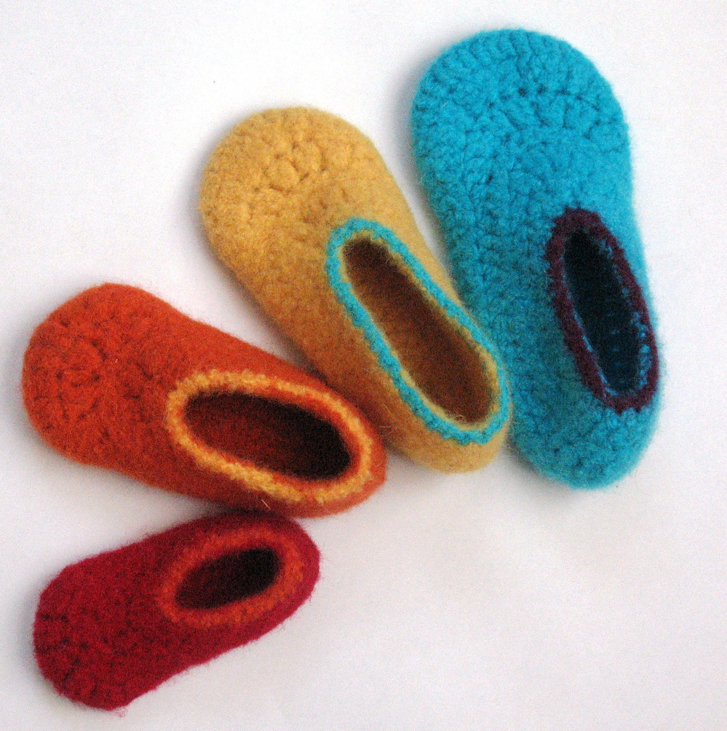 Crochet Patterns I Can Make And Sell : Felt Kids Slippers Crochet Pattern No. 7 by BallHanknSkein Etsy