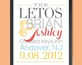 Custom Wedding Gift, Anniversary Gift, Headline Couple, Personalized Name Art Print (Custom Colors)