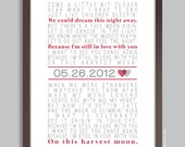 Anniversary Gift, First Dance Song, Personalized Wall Print (custom song lyric art and date) choose your color