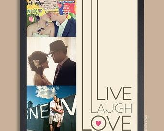 Anniversary Gift for her, Gift for him, Live Laugh Love Couple Custom, Photo Keepsake Print, engagement gift, wedding gift