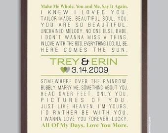 Custom Wedding Lyrics Song Print, Personalized Wedding Poster (first dance, poem, lyric art) Anniversary Gift, 11x14, 12x18, 16x20, 20x30