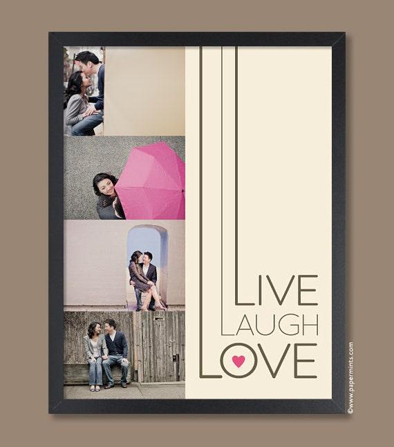 Live Laugh Love, Wall Art, Home Decor, Personalized Photo Gift, Couple Custom Photo Keepsake Print  11x14 Anniversary gift