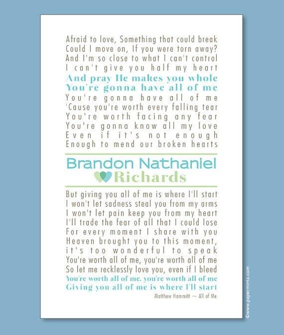 Nursery Decor, Personalized Nursery Wall Print (custom song, lyrics art, poem, storybook) turquoise & sage, custom colors