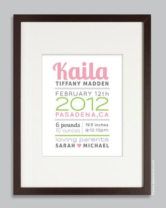 Baby Girl, Gift, Custom Birth Print, Nursery Wall Art Print (baby name and birth stats) pink & green