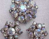Vintage Iridescent AB Aurora Borealis PIN Brooch & Clip On Earring Set RHINESTONE