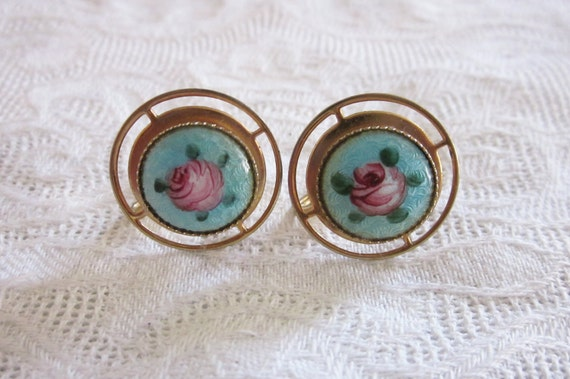 Vintage Jewelry GUILLOCHE ENAMEL Painted Flower Rose EARRINGS Screwback