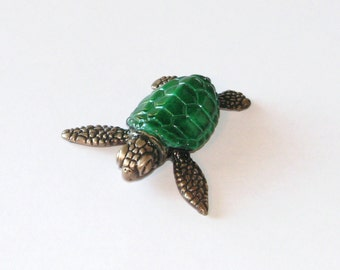 Bitsy, a swimming baby sea turtle, limited edition bronze sculpture