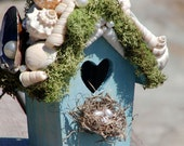 Shabby Beach Cottage Shell Encrusted Bird House - SMALL