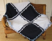 Fleece Blanket Now Sew Patchwork Navy, Light Blue & White
