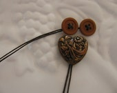 Bronze Heart Bookmark with Vintage Buttons