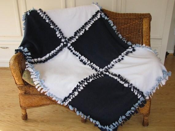 Fleece Blanket Now Sew Patchwork Navy Light Blue Amp White