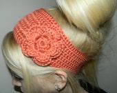 Crochet Coral Flower Headband/ Earwarmer - Pick your color
