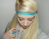 Crochet Turquoise Headband-  Hippie headband- Pick your color