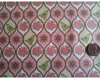 Pear Tree by Thomas Knauer for Andover Fabrics, Small Partridge and Flowers in Pink on Cream