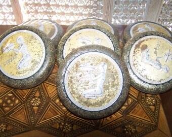 vintage tin box,art deco style european tin,danish or  chocolate round tin box, danish,decorative trinket box,FREE SHIPPING,great gift