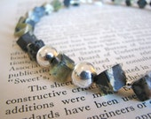 Jasper Necklace Grey and Green Diagonal Cut Cube Sterling Silver Statement Necklace Gifts Under 75