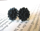 Black Dahlia Stud Earrings Gifts Under 10
