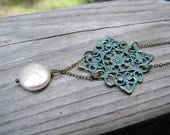 Filigree Necklace Verdigris Green Patina and Coin Pearl Accent Gifts Under 50