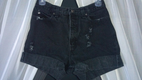 50% OFF High-Waisted Destroyed and Studded Cuffed Shorts