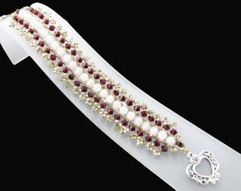 Garnet Swarovksi Crystals and  Rose Quartz Gemstones Woven Cuff Bracelet