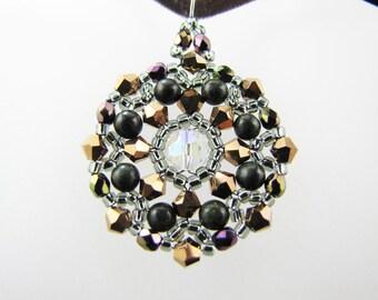 Dorado AB2X Swarovski Crystals and African Jade Gemstones Medallion Beaded Pendant