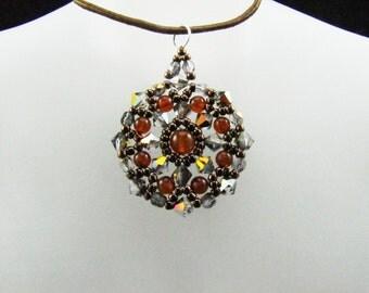 Vitrail AB Swarovski Crystal Amber Gemstones Medallion  Pendant