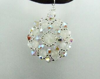 Sand Opal AB2X Swarovski Crystal Rose Quartz Gemstones Medallion Beaded