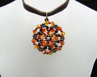 Fire Opal Swarovski Crystal Medallion Beaded