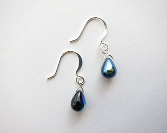 Iris Blue Jet Black Czech Glass Dangle Drop Teardrop Earrings TCJG