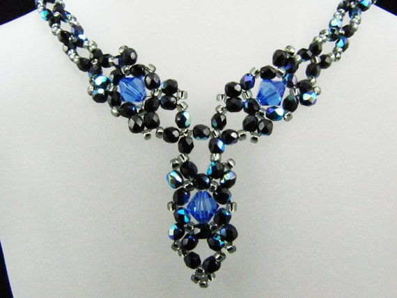 Sapphire Blue Swarovksi Crystal Bead Woven Drop Necklace TCJG