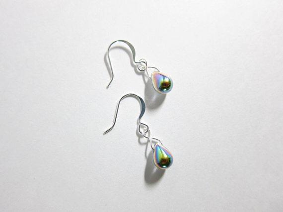 Vitrail Iris Czech Glass Dangle Drop Teardrop Earrings TCJG