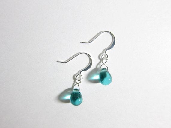 Teal Blue Green Czech Glass Teardrop Dangle Earrings