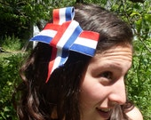 Memorial Day Bow Hair Clip Upcycled 4th Of July Red White And Blue Patriotic American