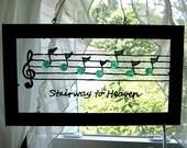 Custom Music notes and lyrics  hand painted  Glass Art framed green
