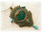 Gold and turquoise bead embroidered necklace - OOAK
