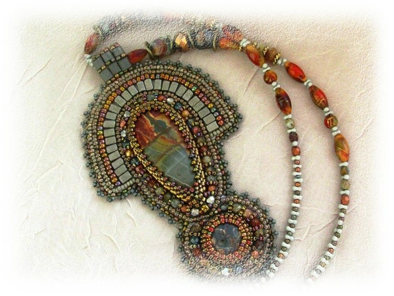 Nefertiti's dream - bead embroidered necklace with PIcasso jasper - OOAK